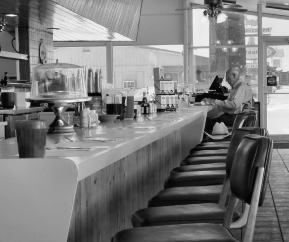 Bw old timer in diner
